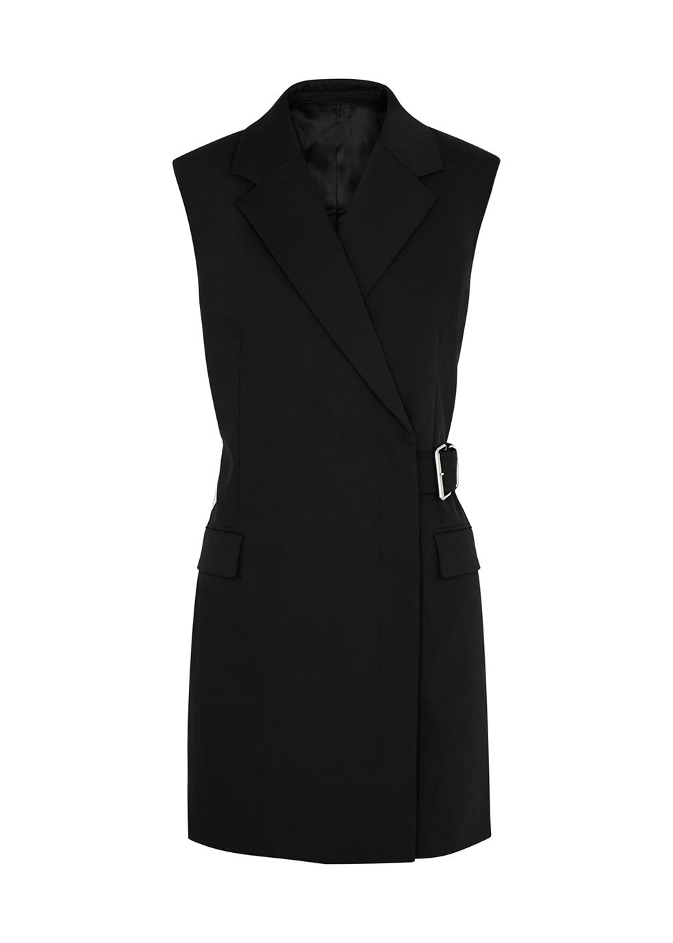 Black belted wool-blend blazer dress