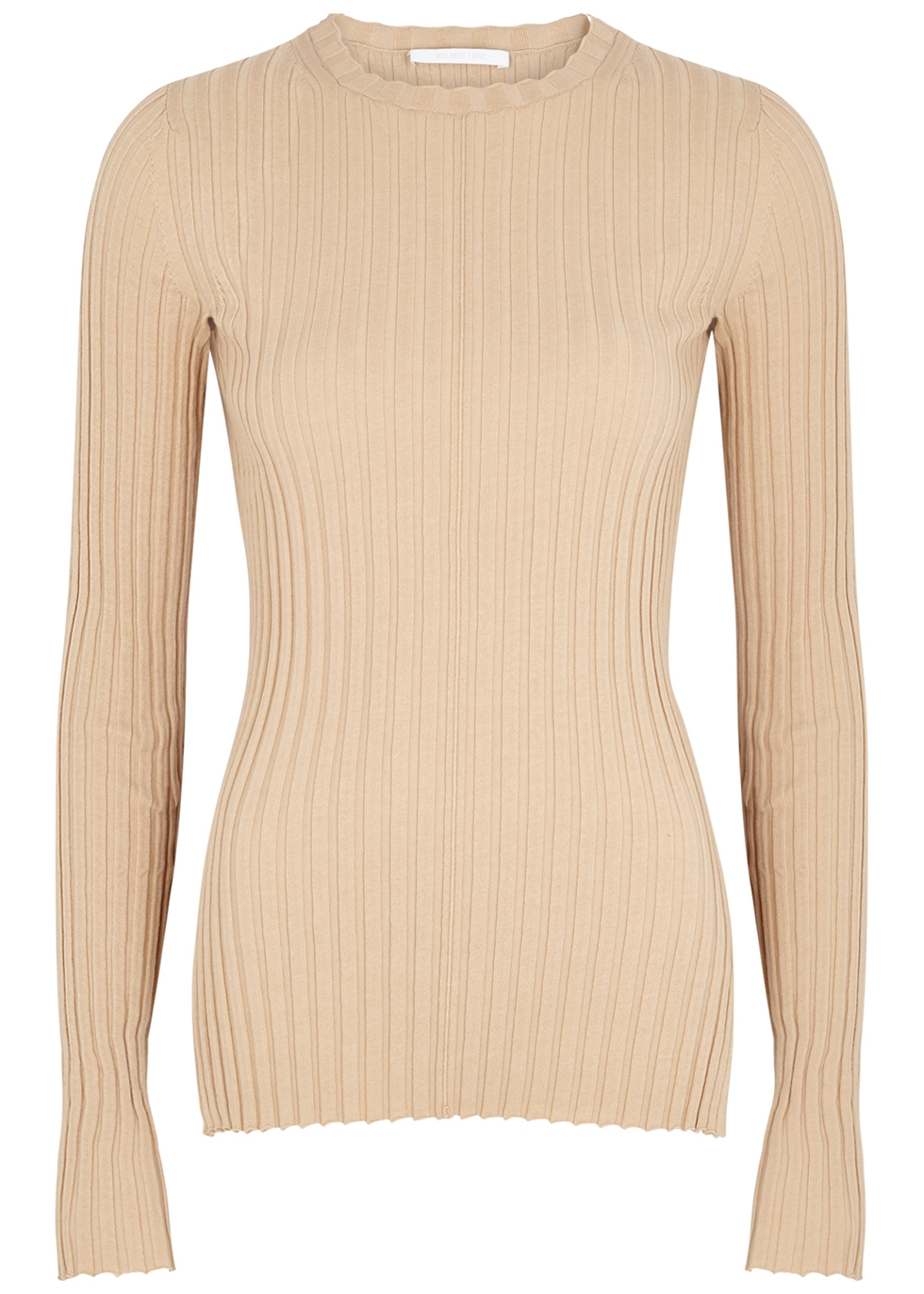Camel ribbed-knit cotton-blend top