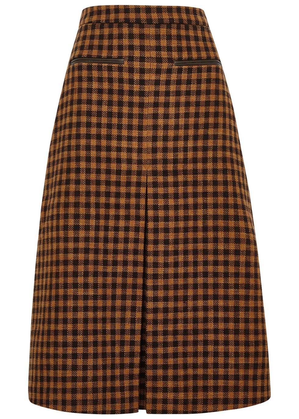 Hazel checked wool-blend skirt