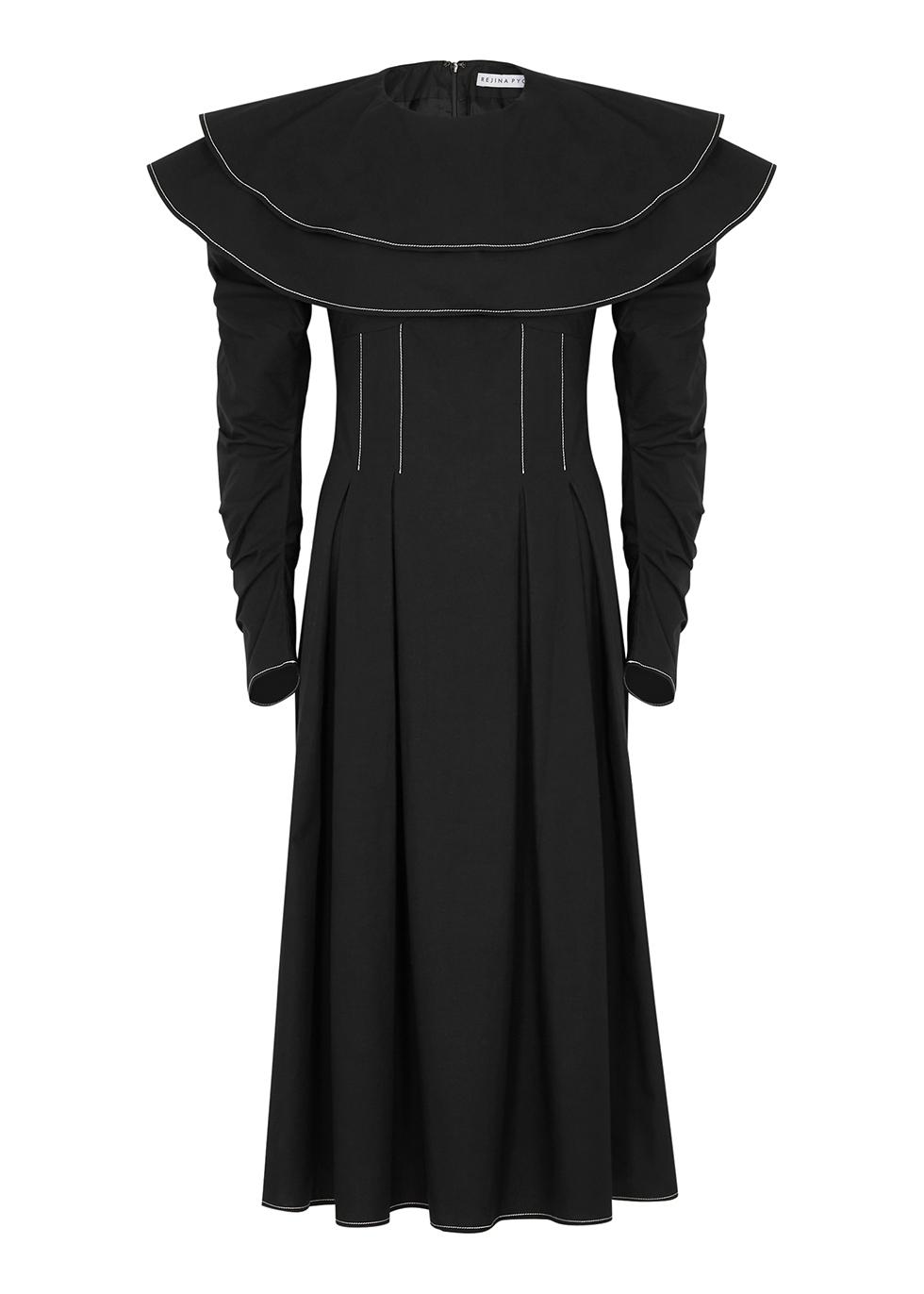 Faye black ruffled cotton dress