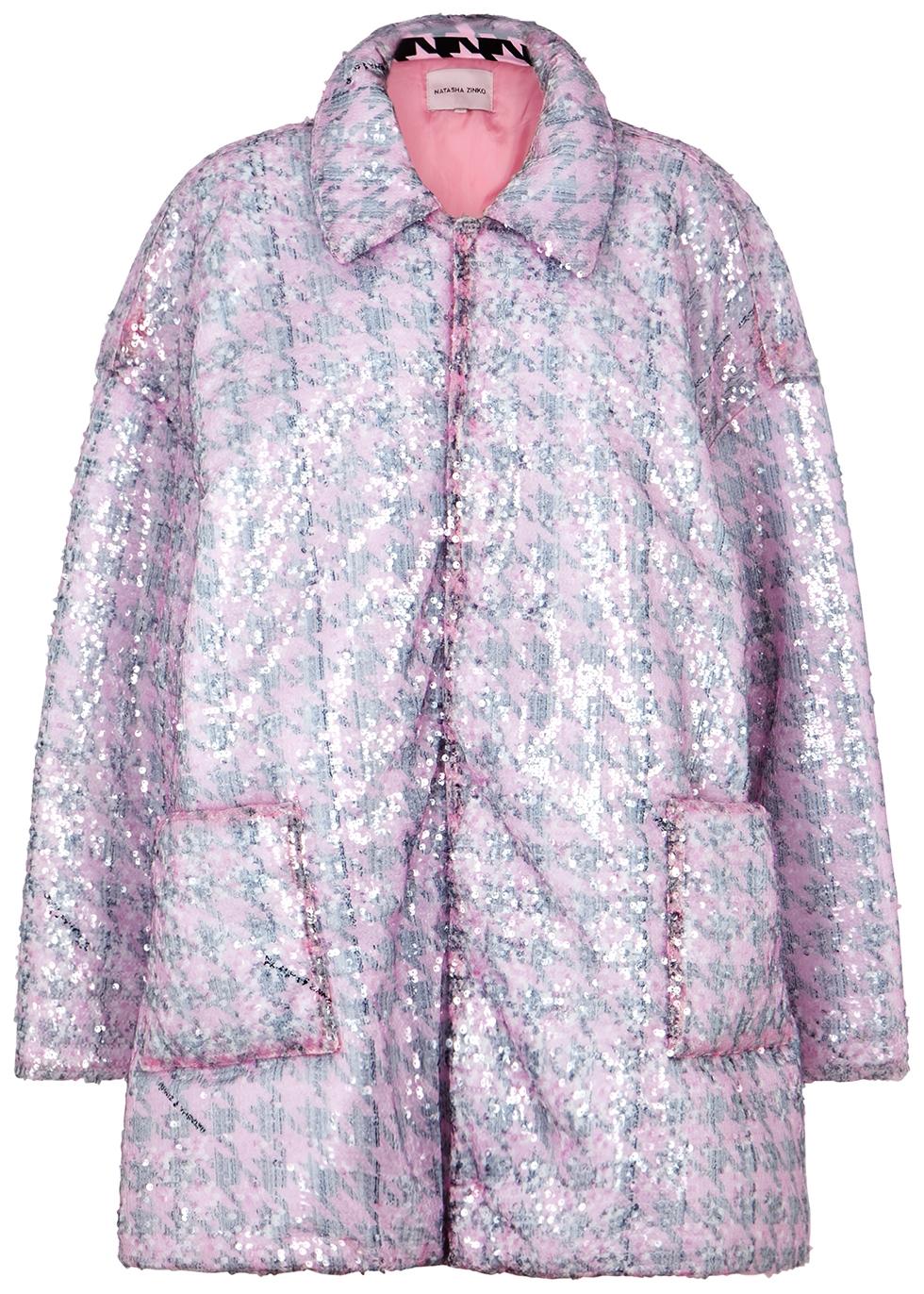 Houndstooth sequin-embellished tulle jacket