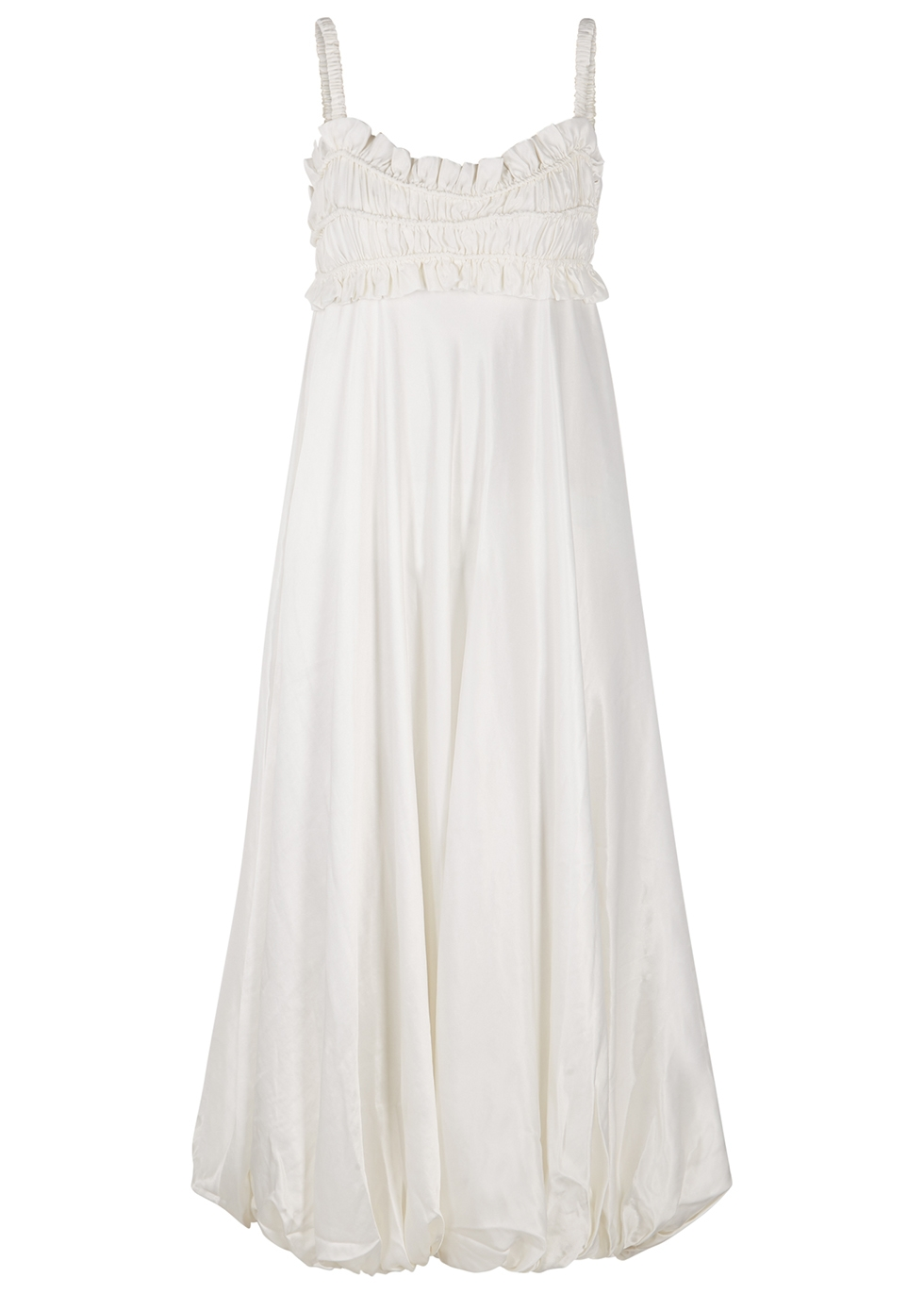 Katya ivory satin midi dress