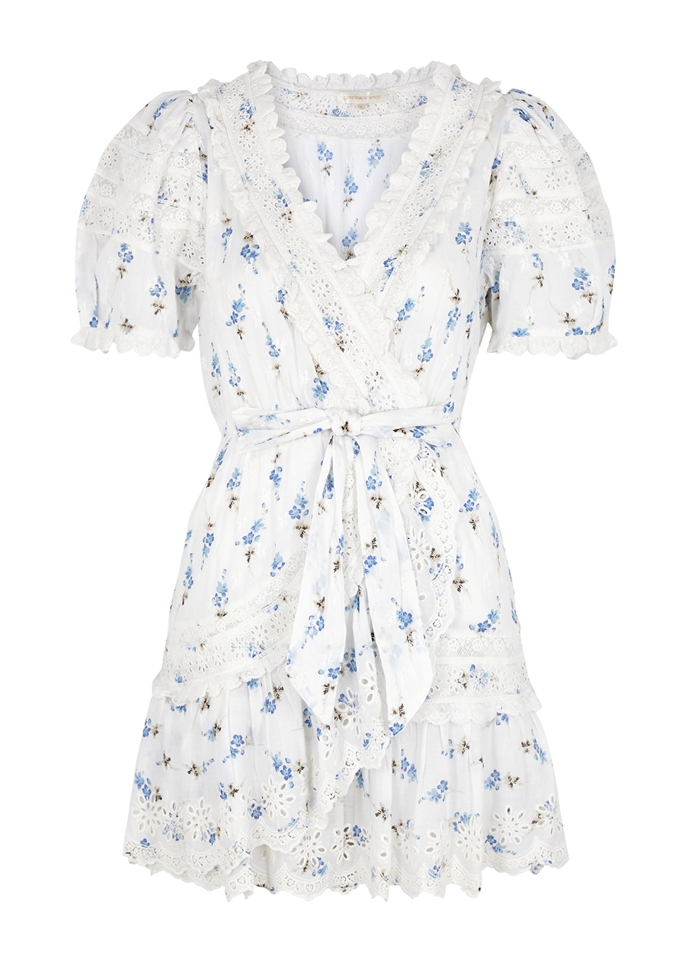 Belen floral-print broderie anglaise mini dress
