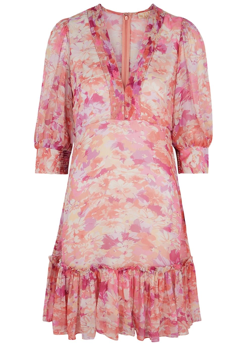 Pink floral-print georgette mini dress