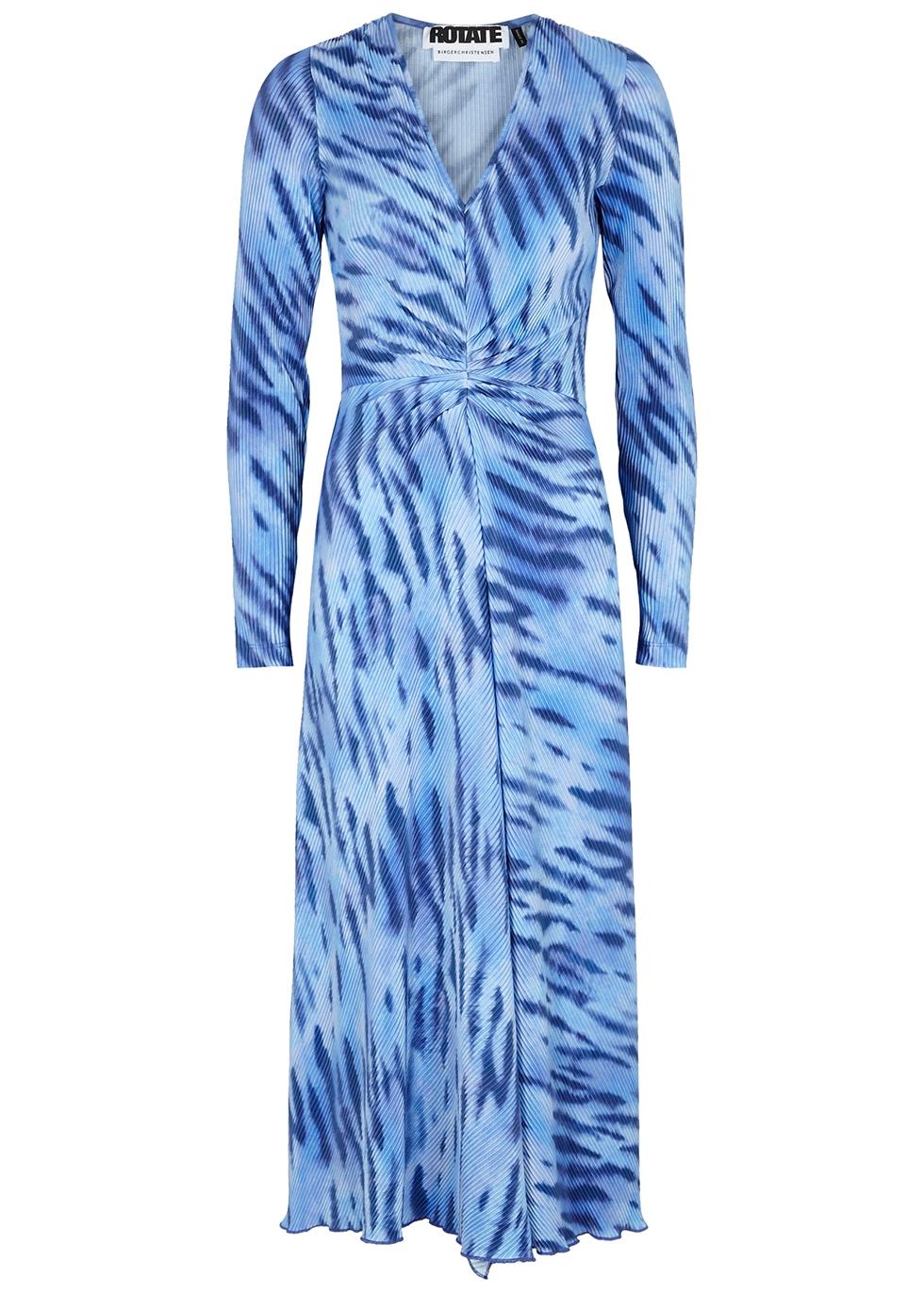 Sierra printed plissé midi dress