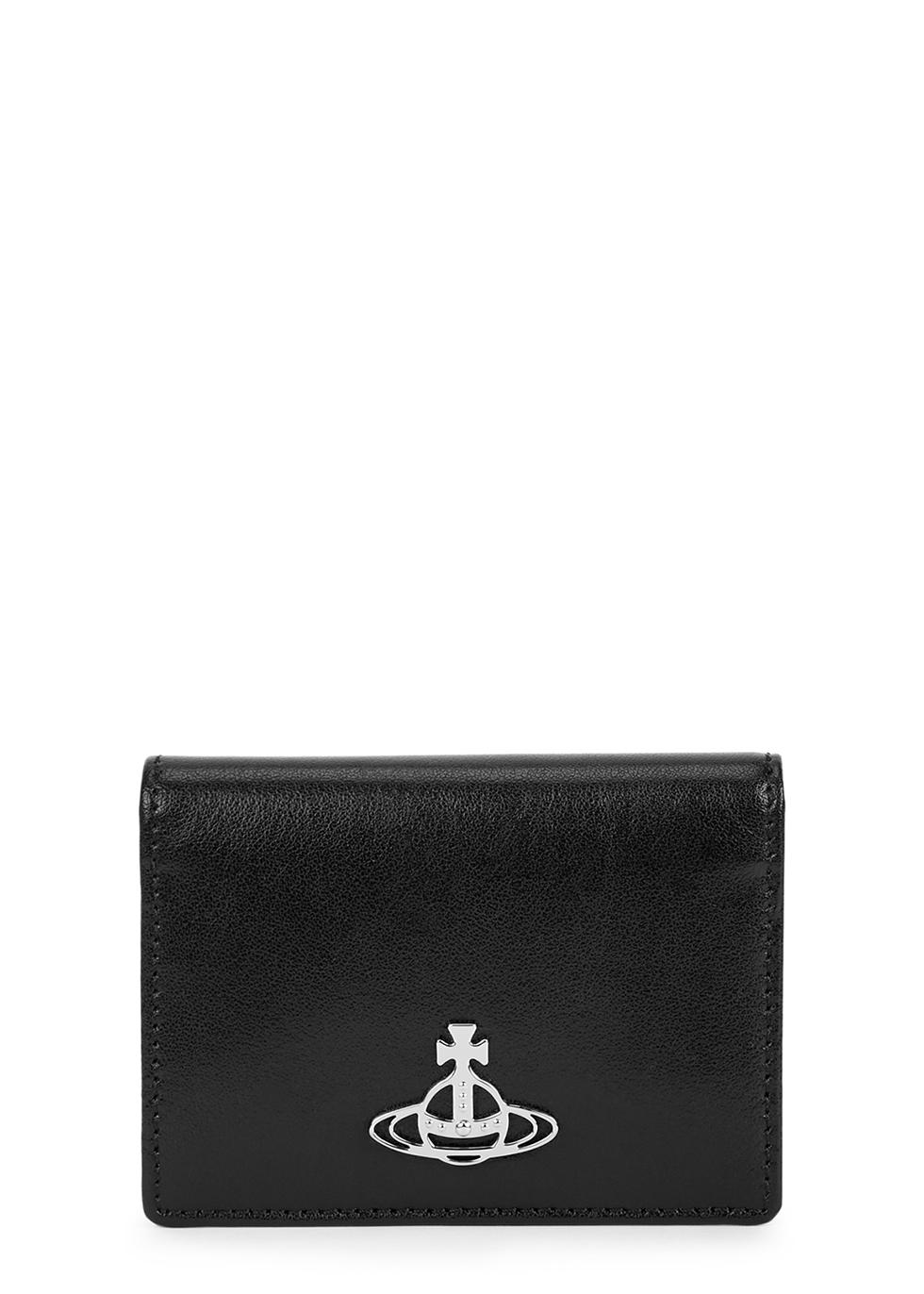 Anna black leather card holder