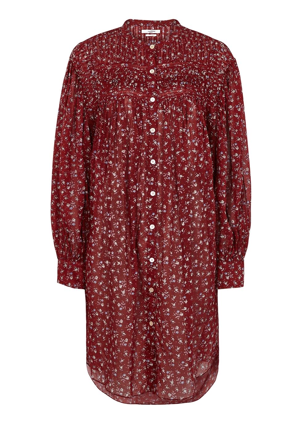 Plana red floral-print cotton dress