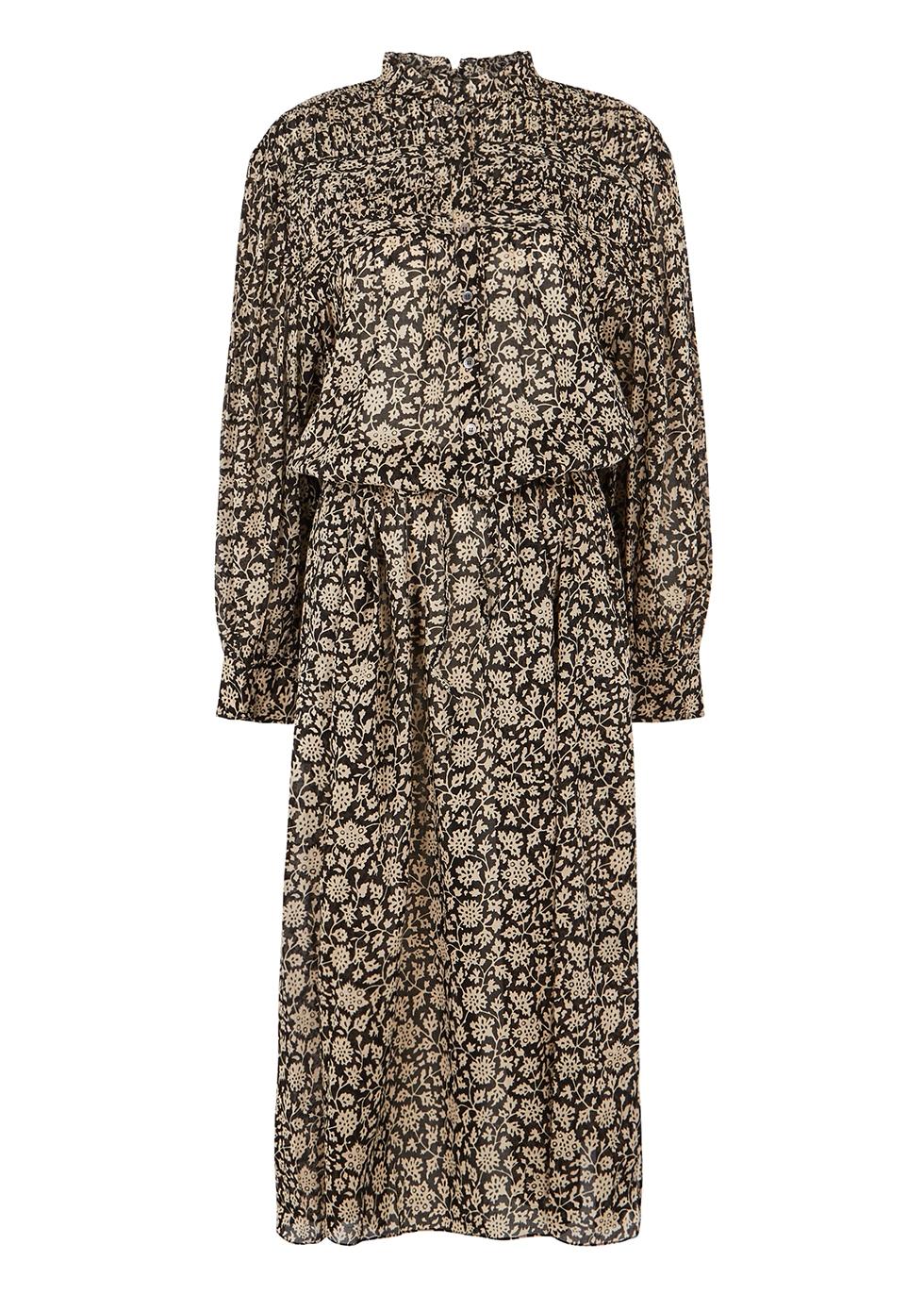 Perkins floral-print cotton midi dress