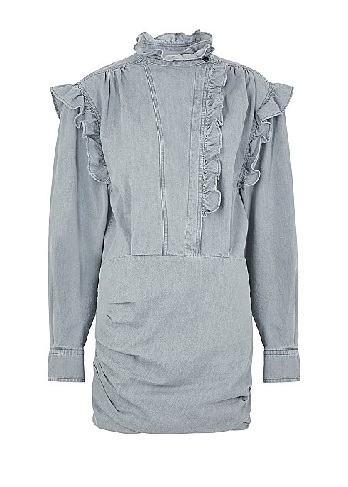 Greta grey ruffle-trimmed denim mini dress - Isabel Marant Étoile
