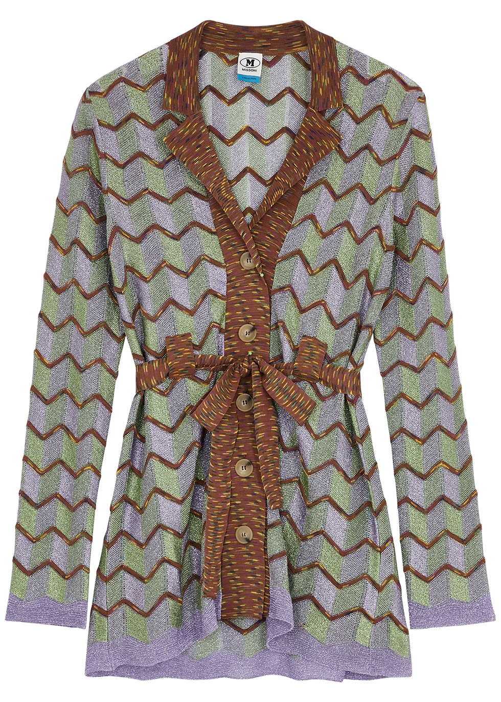 Zigzag metallic-knit cardigan