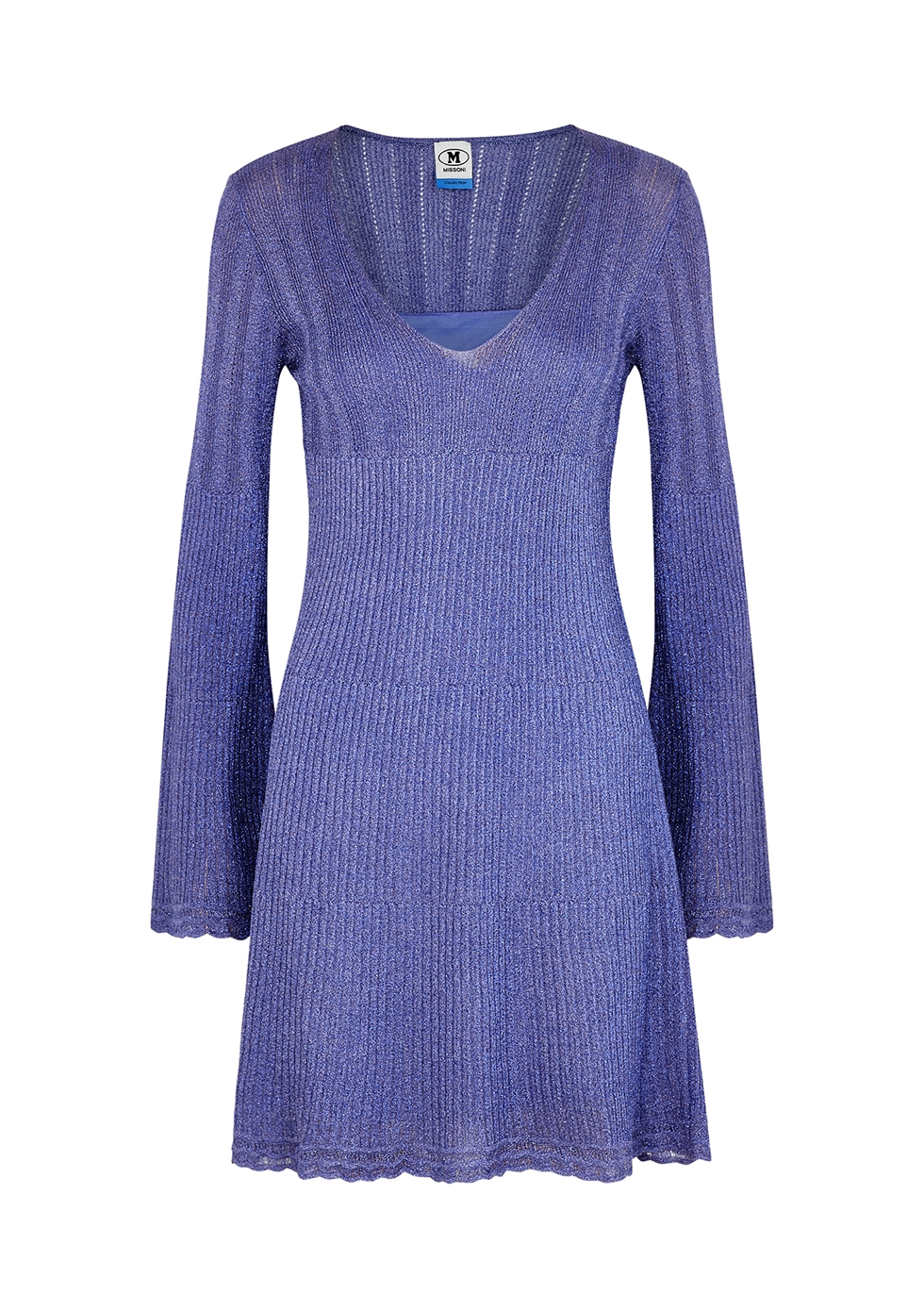 Light blue metallic-weave mini dress