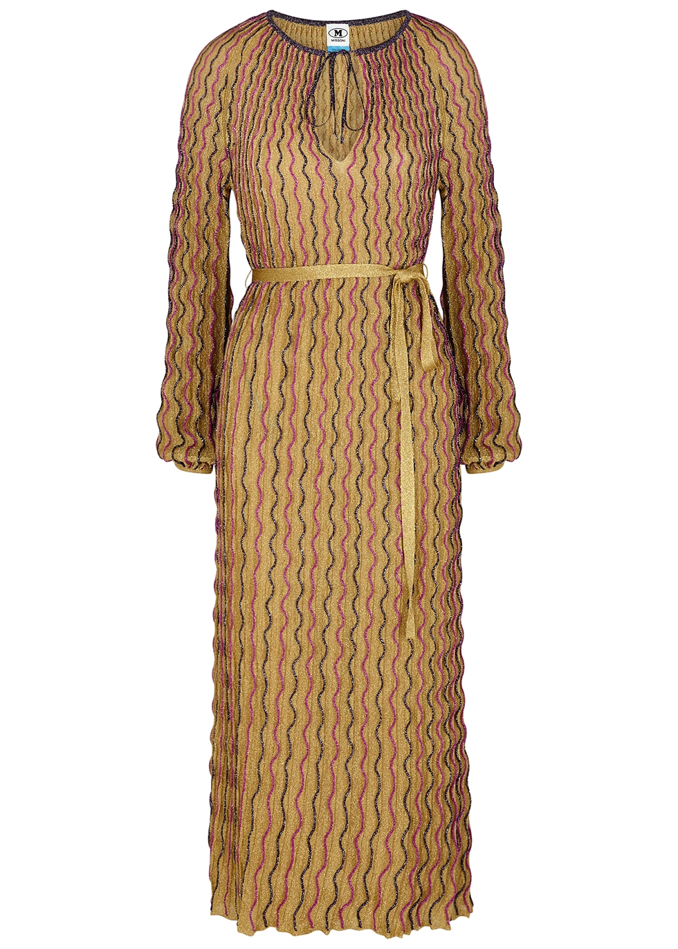 Gold embroidered metallic-weave maxi dress
