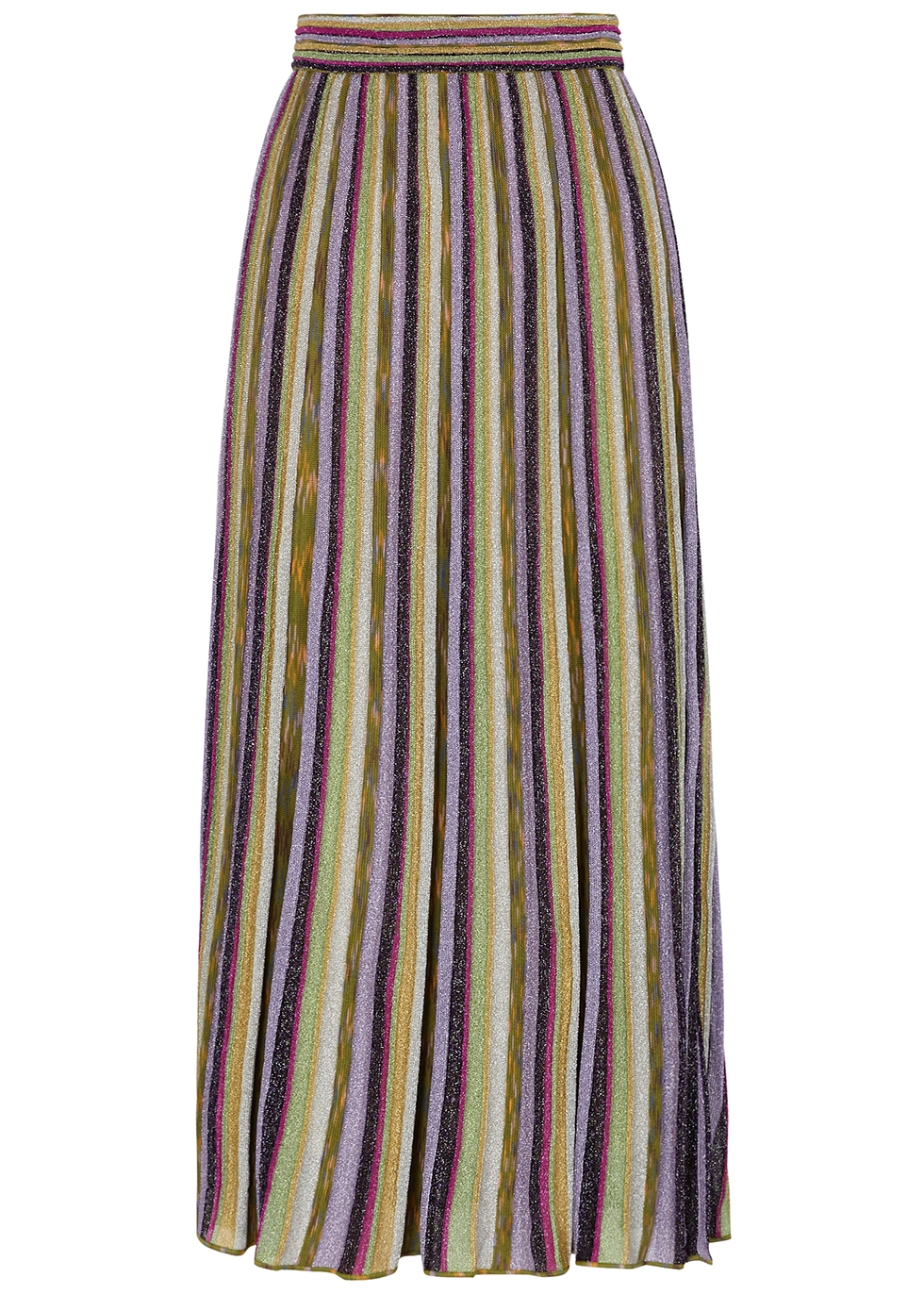 Striped metallic-weave midi skirt