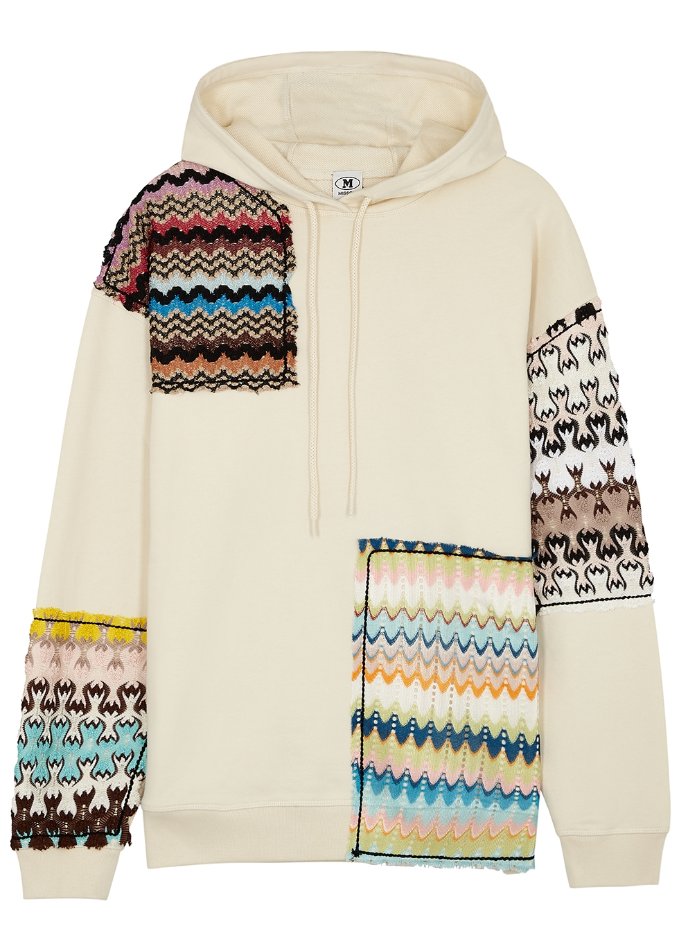 Ecru patchwork-appliquéd cotton sweatshirt