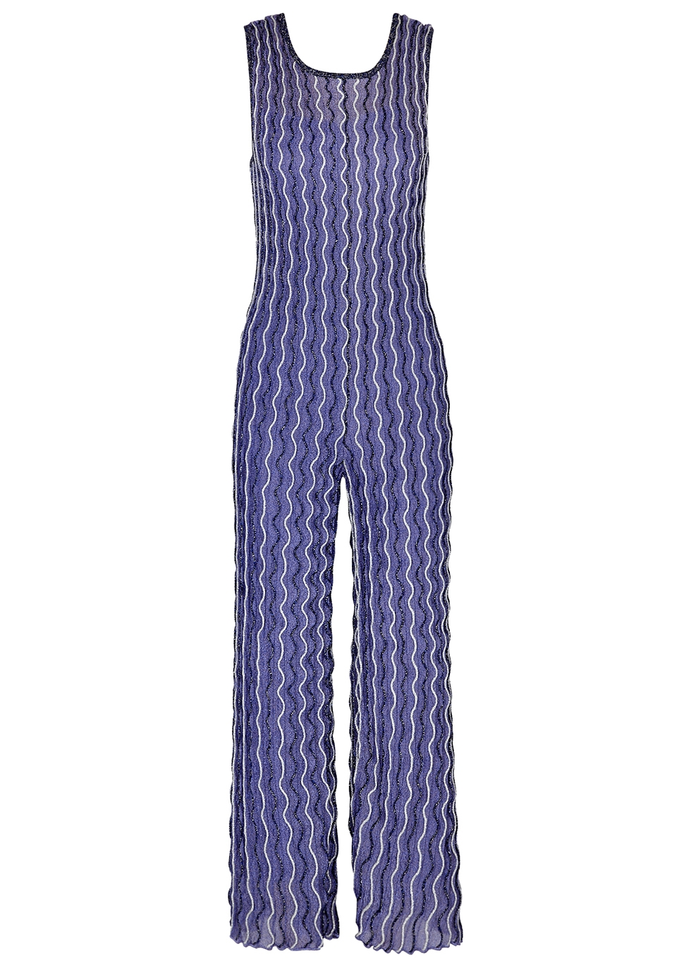 Purple embroidered metallic-weave jumpsuit
