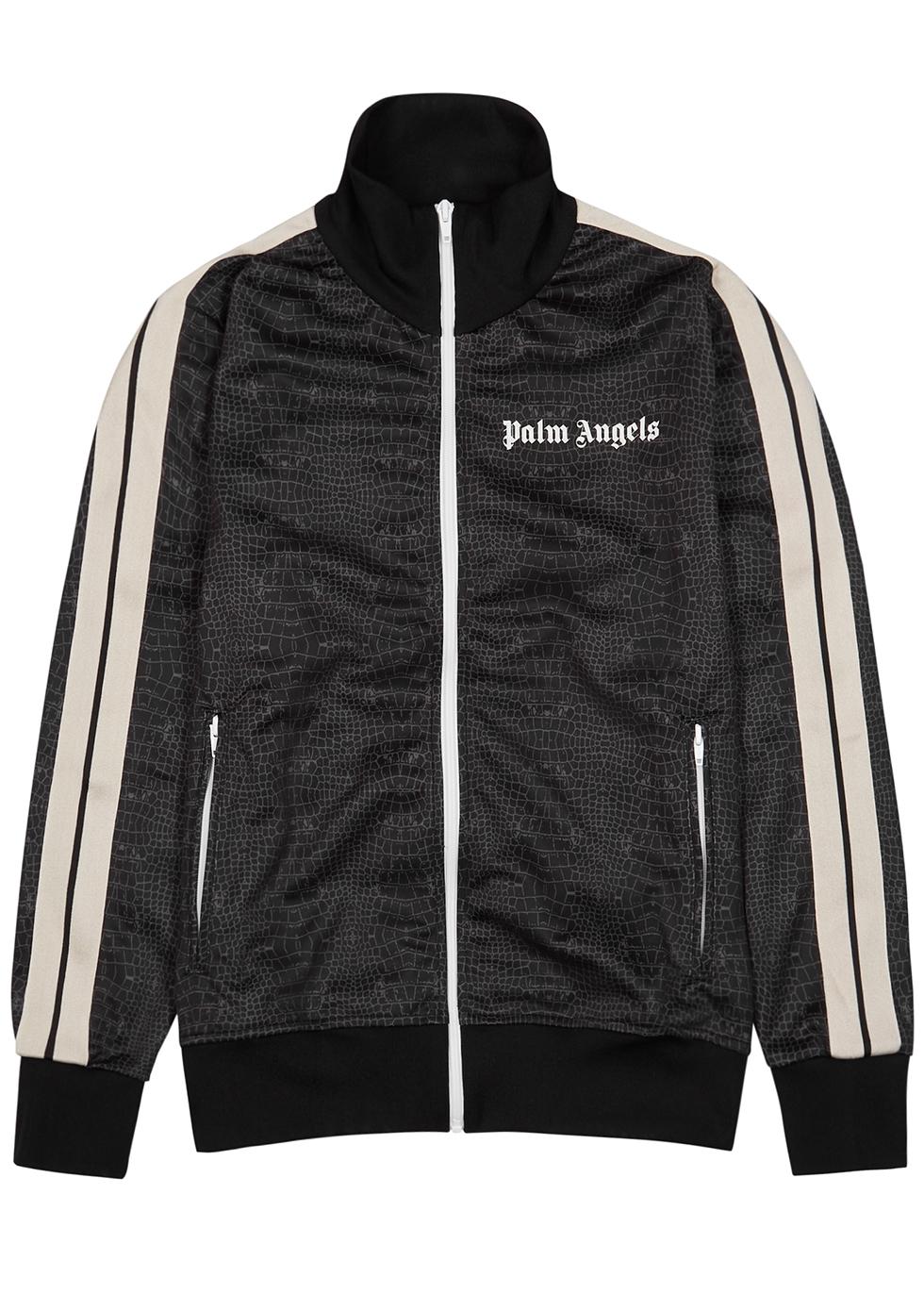 Croco brown printed jersey track jacket