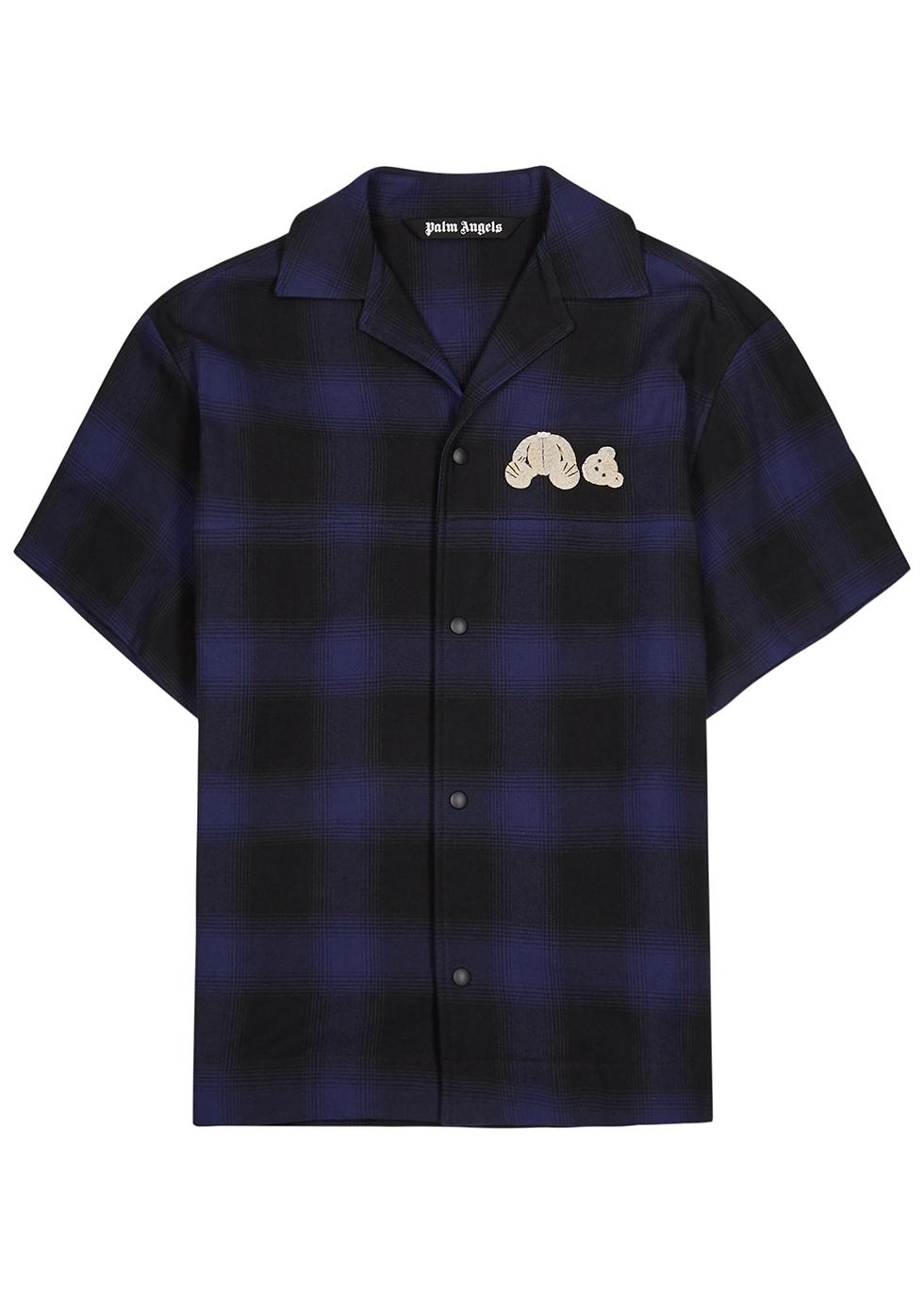 Dark blue plaid cotton-blend shirt