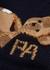 Navy bear-intarsia fringed wool-blend jumper - Palm Angels