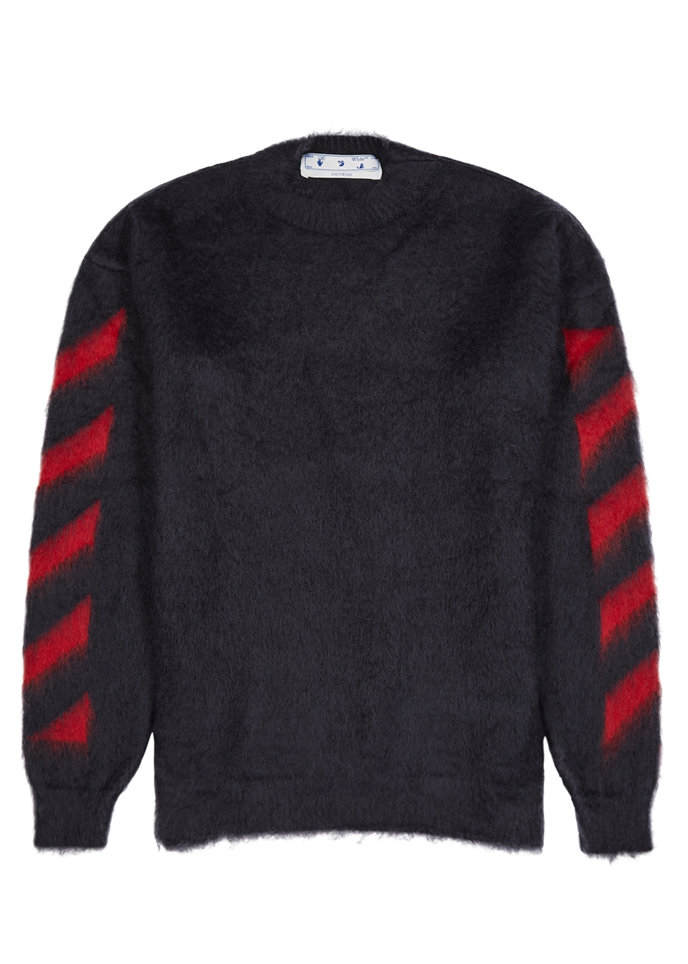 Diag navy brushed mohair-blend jumper