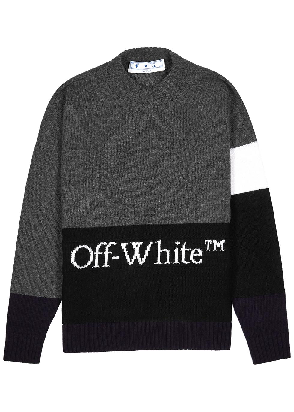 Colour-blocked logo-intarsia wool jumper
