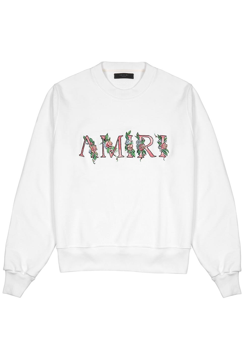Amiri WHITE EMBROIDERED COTTON-JERSEY SWEATSHIRT