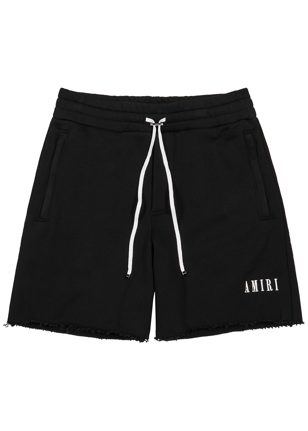 Black cotton-jersey shorts