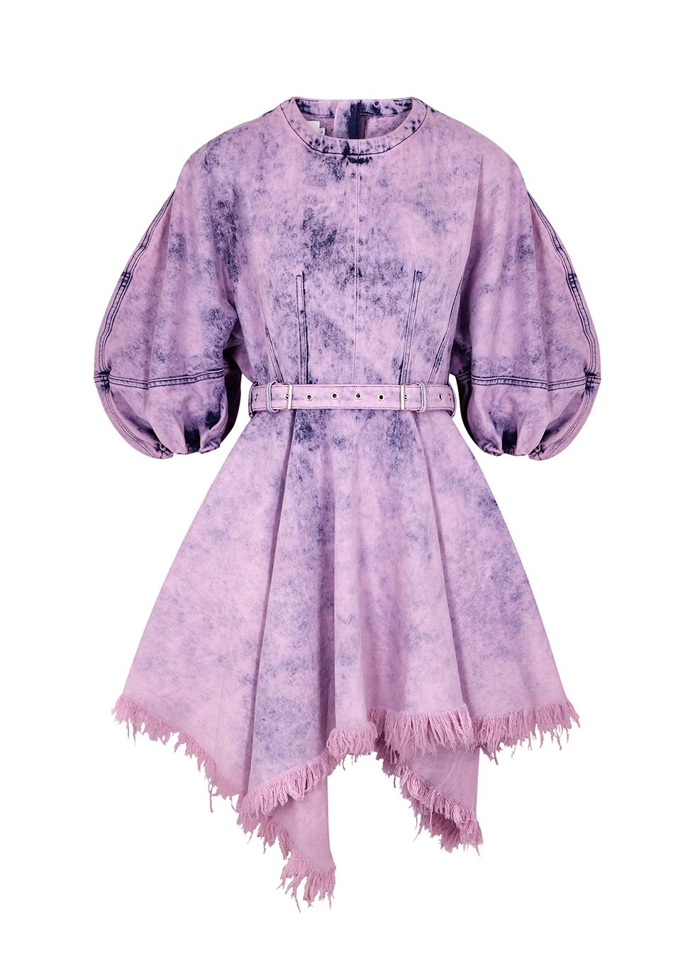 Purple bleached belted denim mini dress