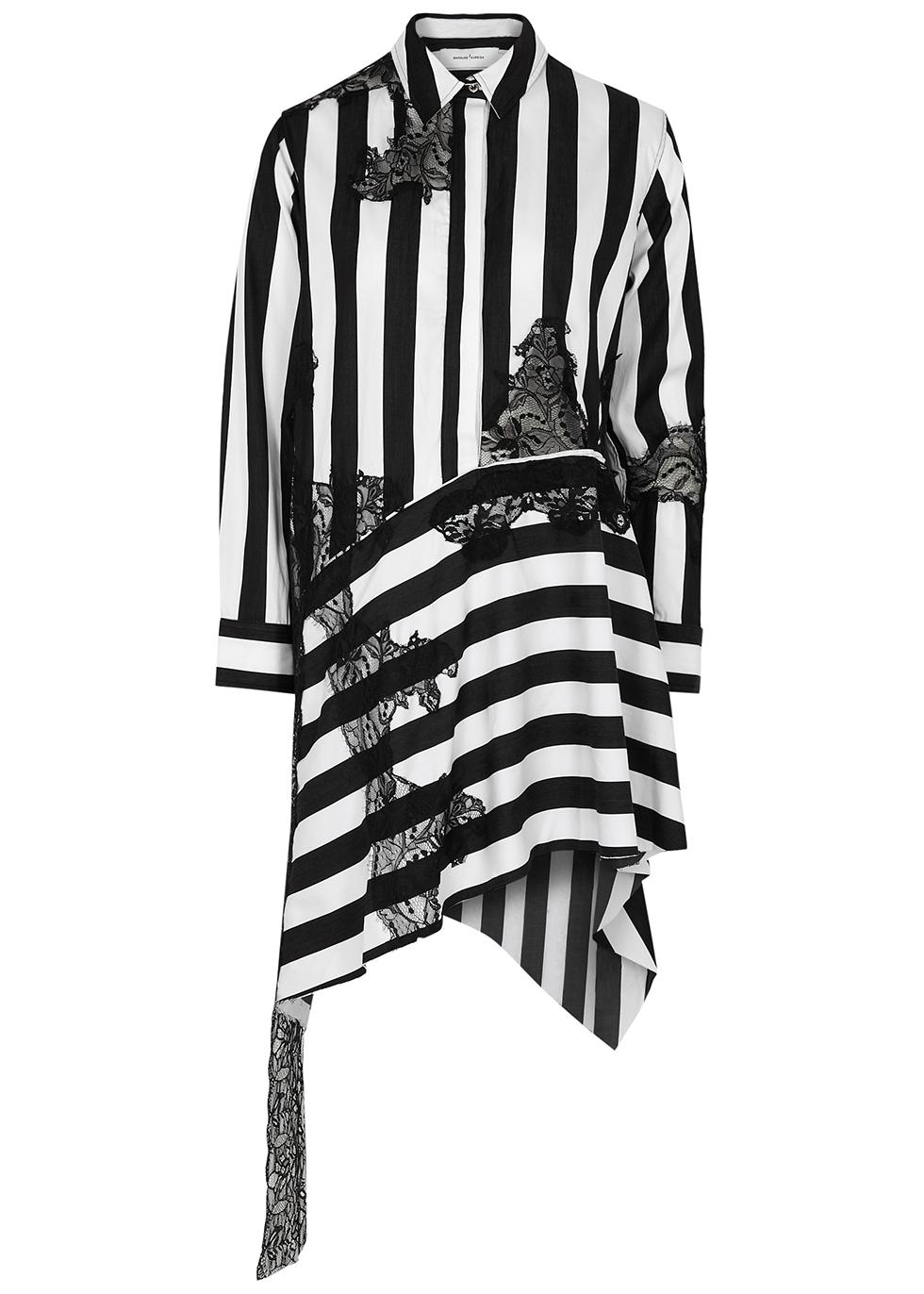Striped appliquéd cotton shirt dress