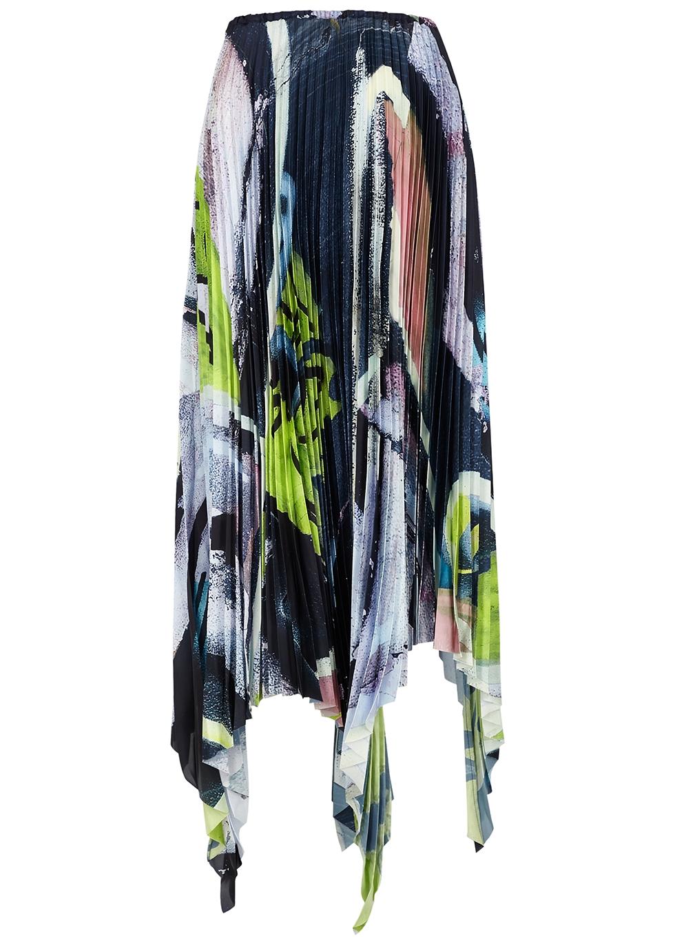 Printed pleated satin midi skirt