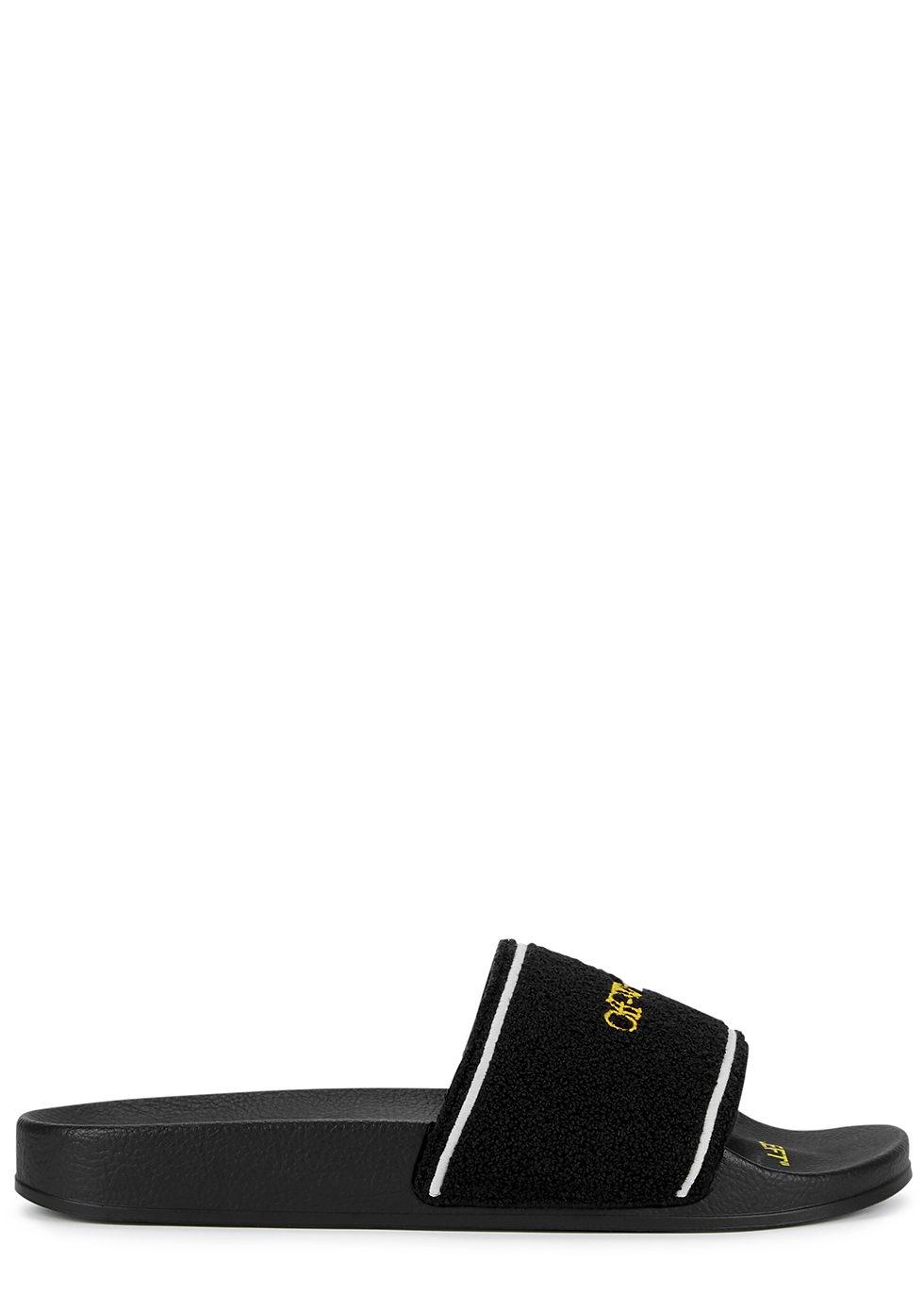 Black logo-embroidered terry sliders