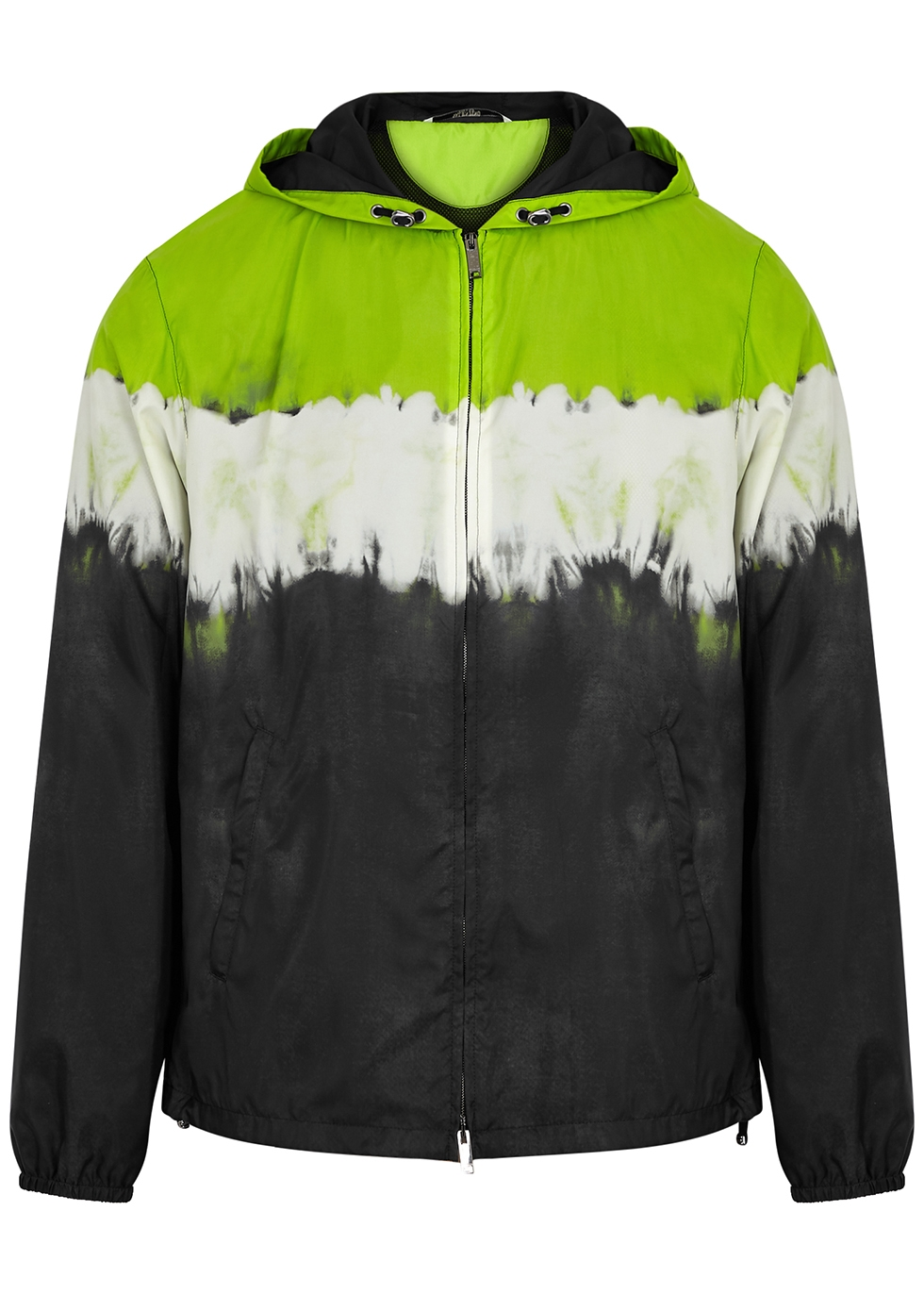 Tie-dyed hooded nylon jacket