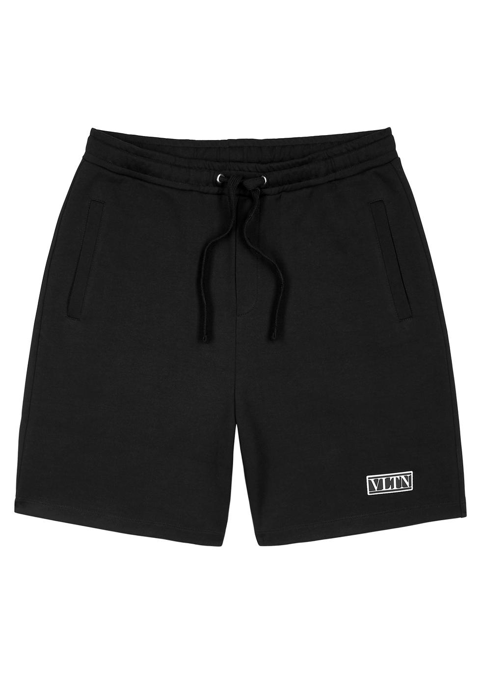 Valentino Vltn Black Cotton-blend Shorts