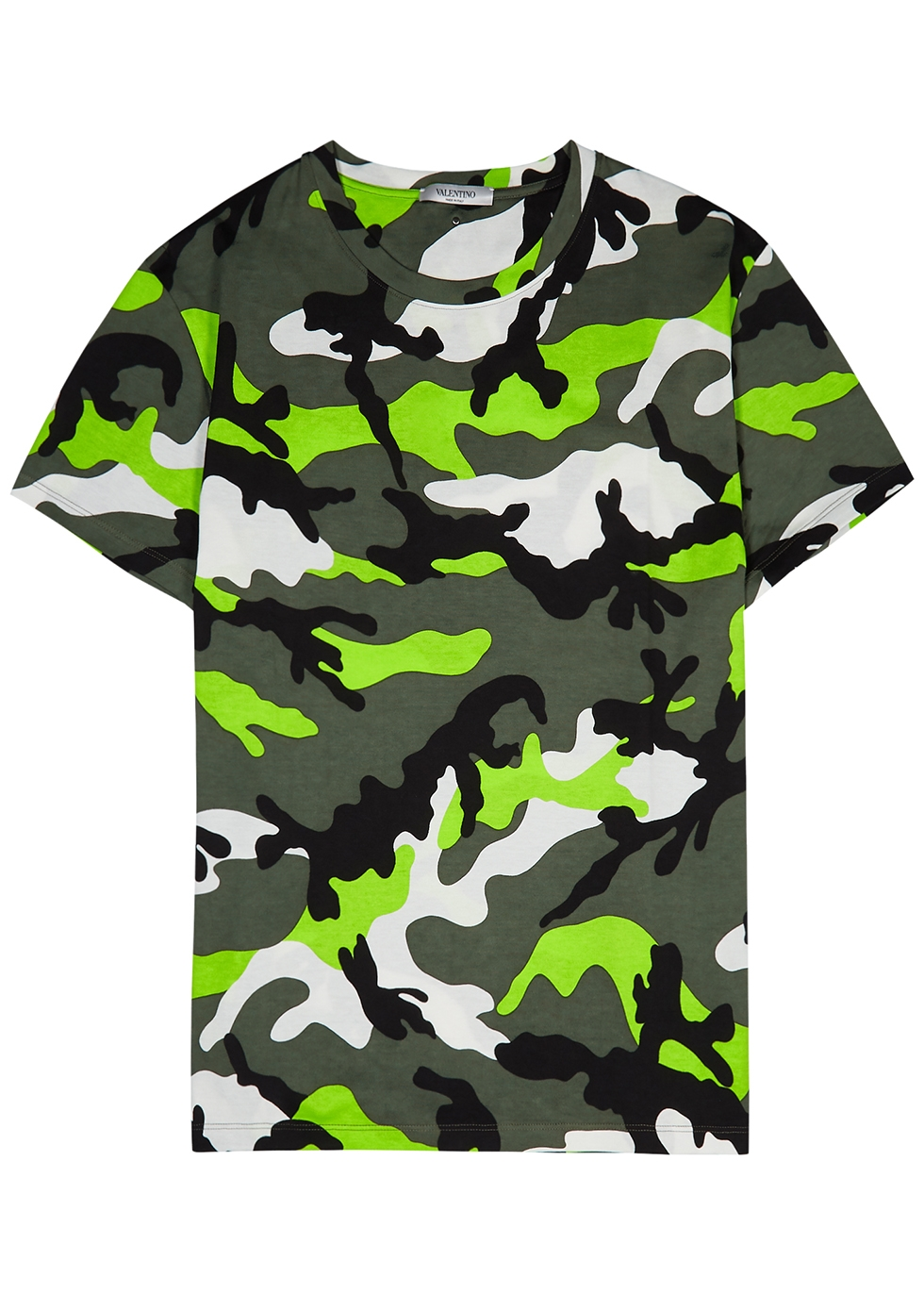 Green camouflage-print cotton T-shirt
