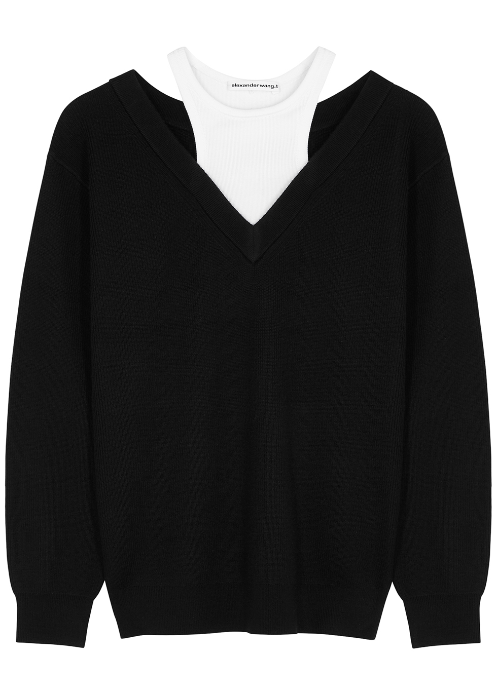 Monochrome layered wool and jersey jumper