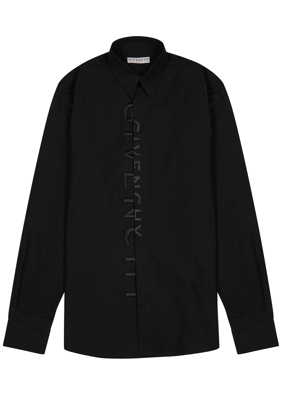 Black logo-embroidered cotton shirt