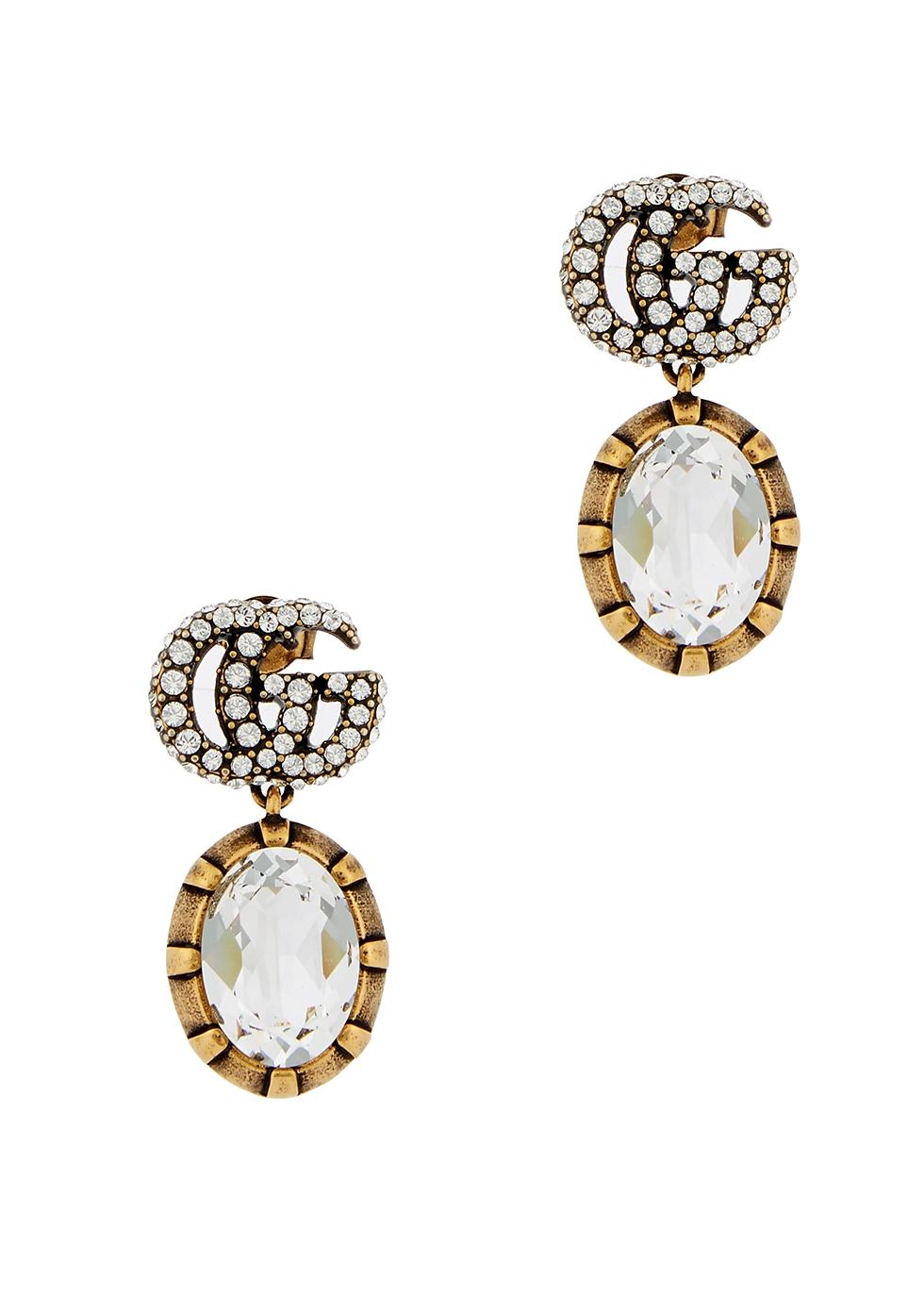 GG crystal-embellished drop earrings