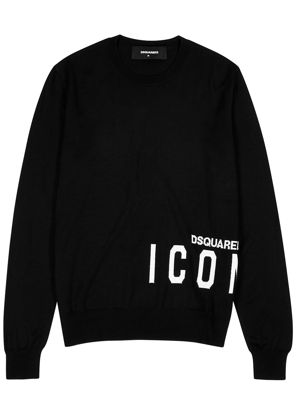 Icon black logo-intarsia wool jumper