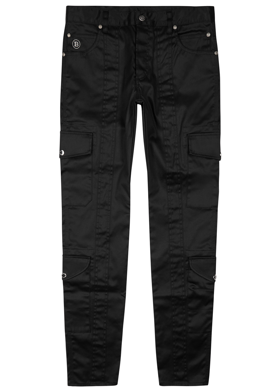 Black coated cotton-blend cargo trousers