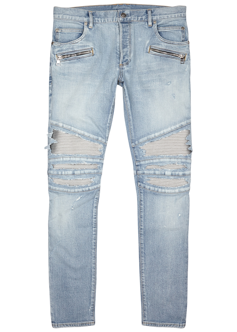 Light blue distressed slim-leg jeans