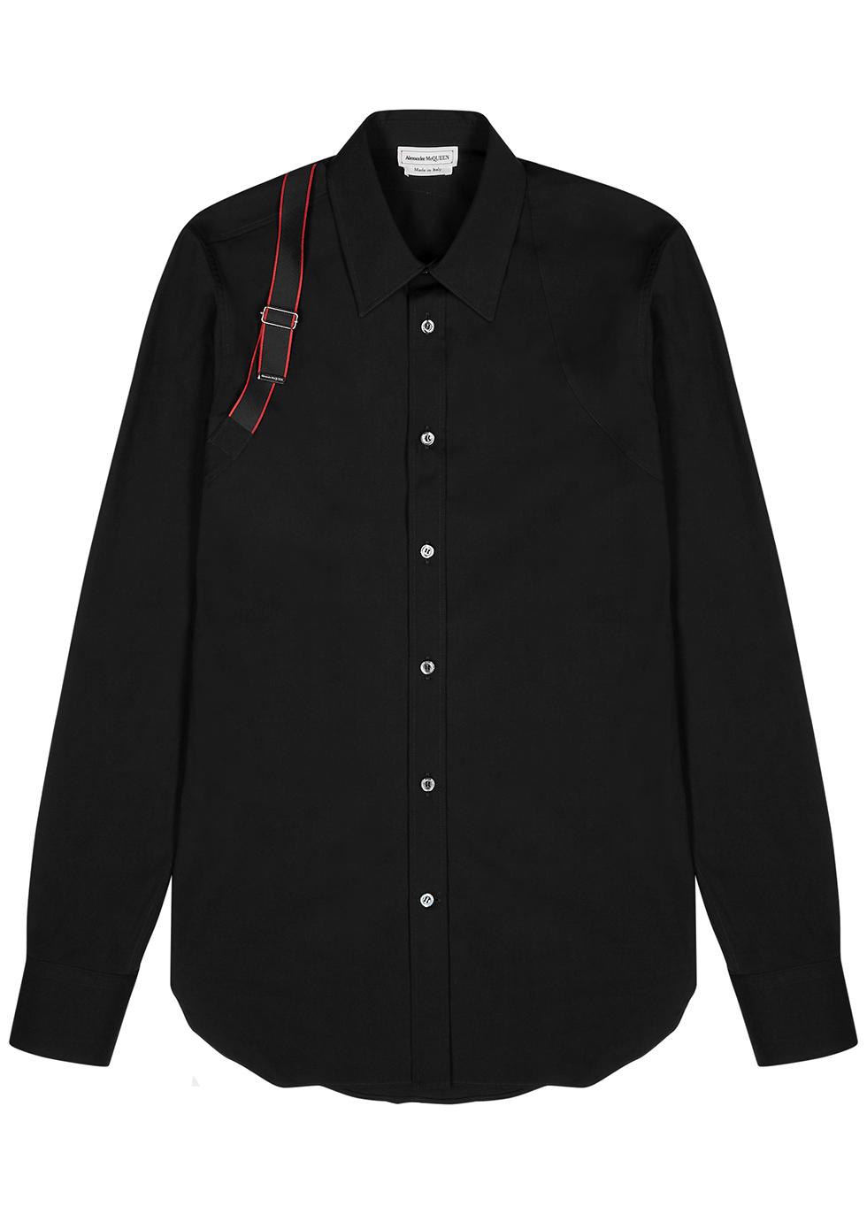 Black harness cotton shirt