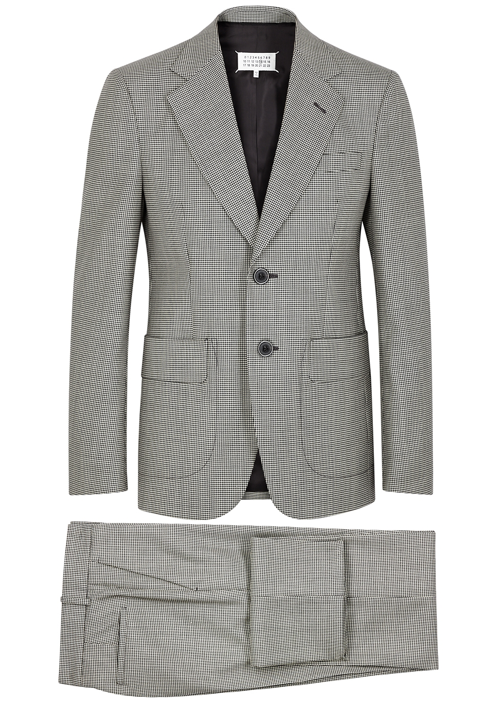 Monochrome houndstooth wool suit