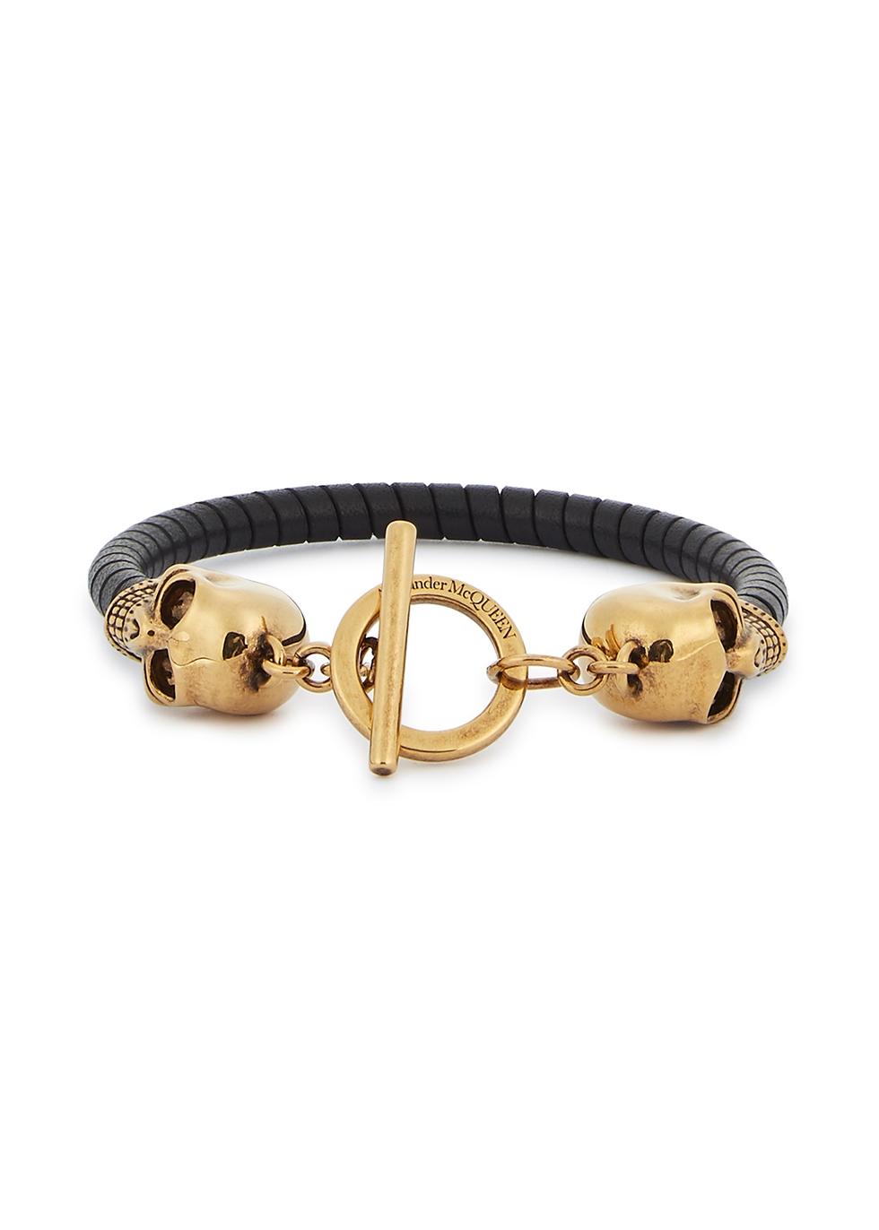 Skull black leather bracelet