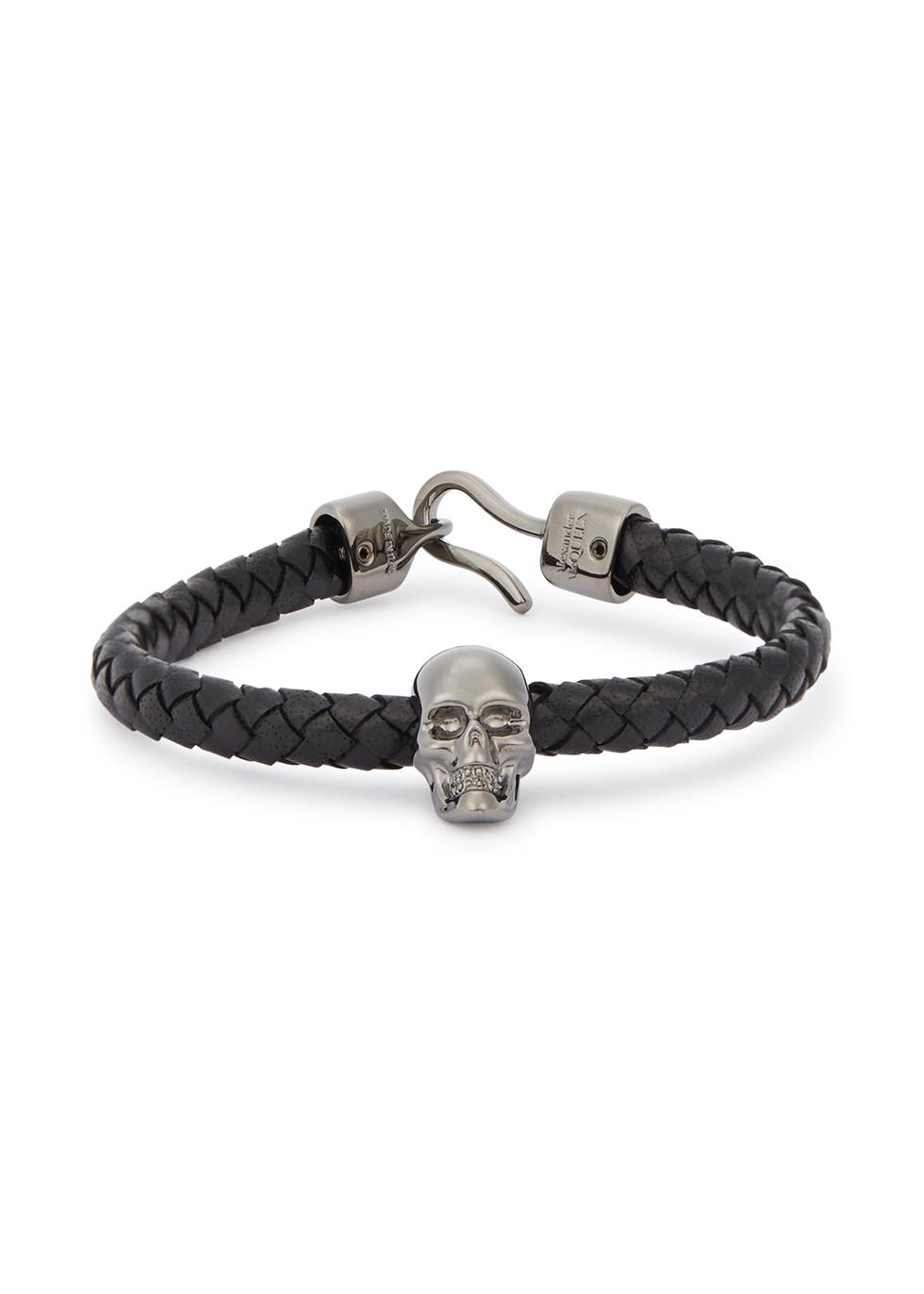 Skull braided leather bracelet