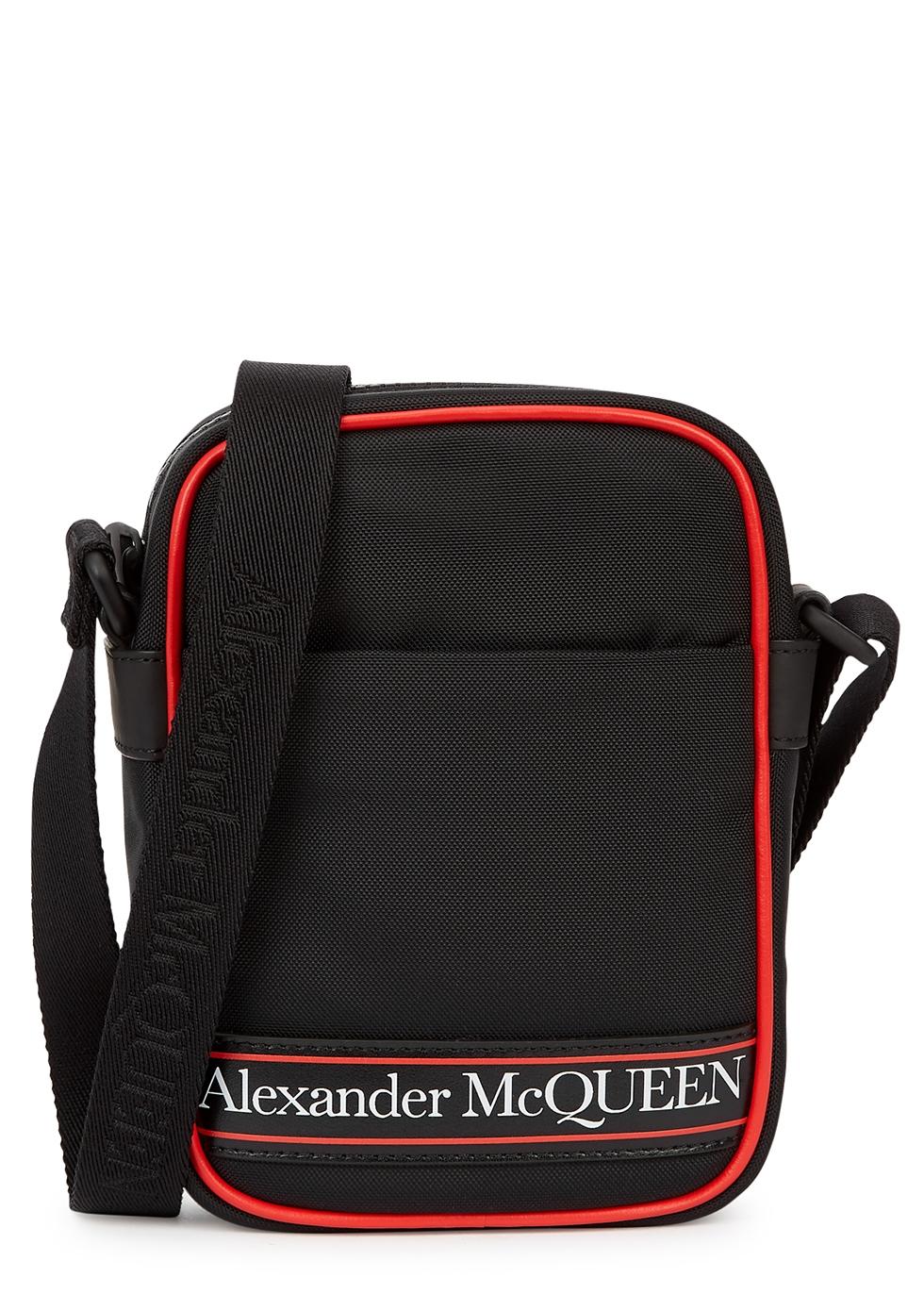 Mini black logo canvas cross-body bag