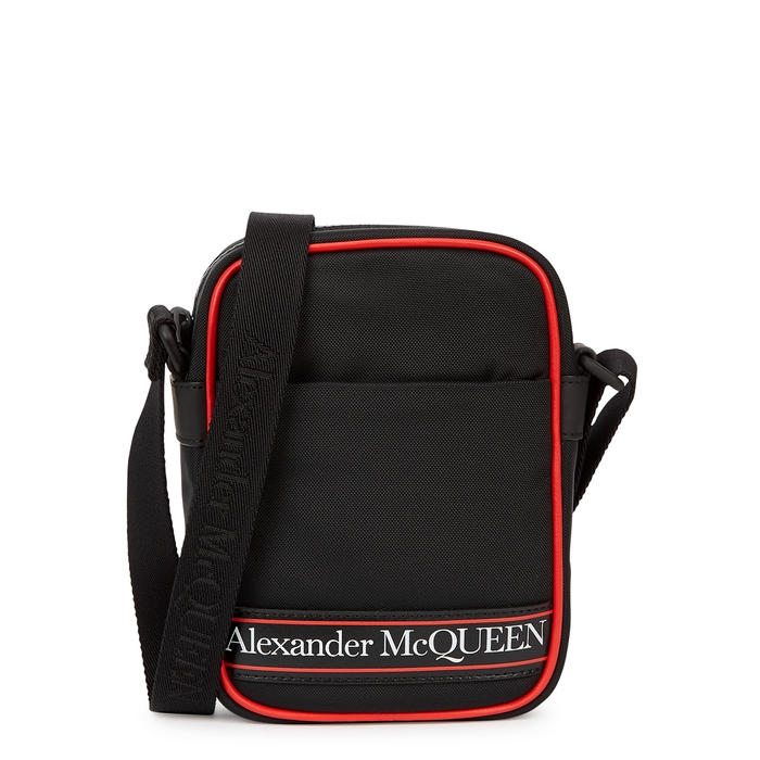Alexander Mcqueen Mini Black Logo Canvas Cross-body Bag In Black And Red