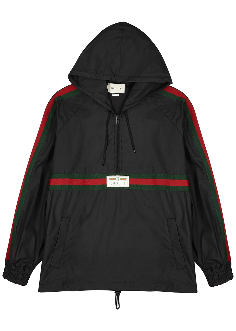 Black half-zip coated cotton jacket