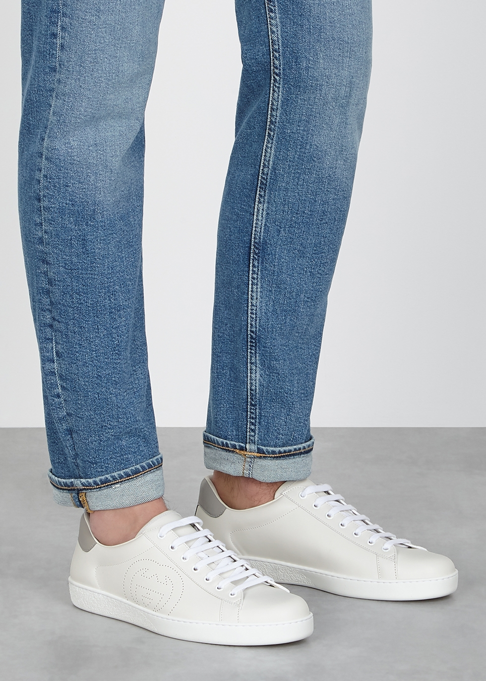 Gucci New Ace white leather sneakers