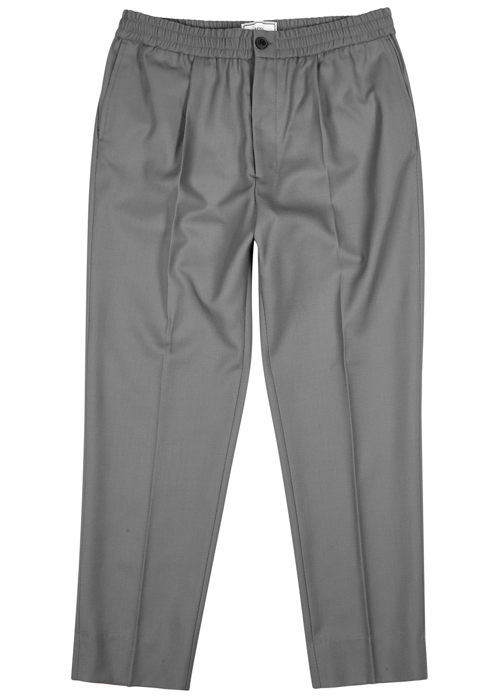 Grey tapered-leg twill trousers