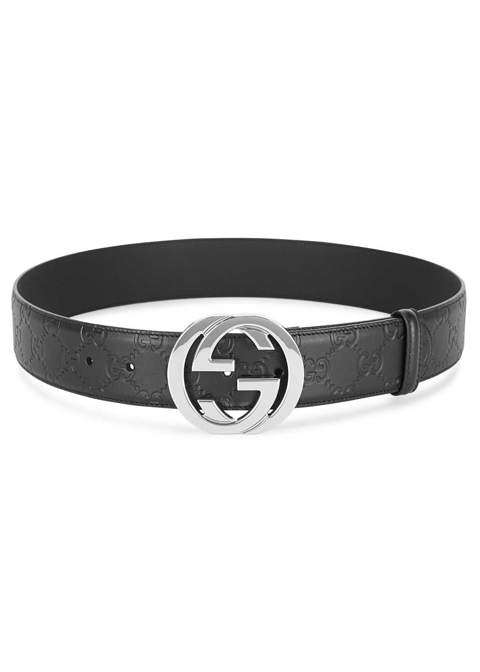 GG black logo-embossed leather belt