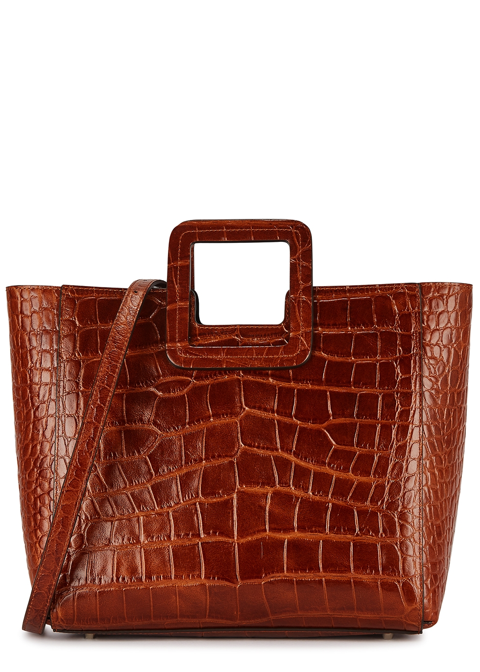 Shirley brown crocodile-effect leather tote